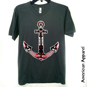 American apparel medium gray anchor tee